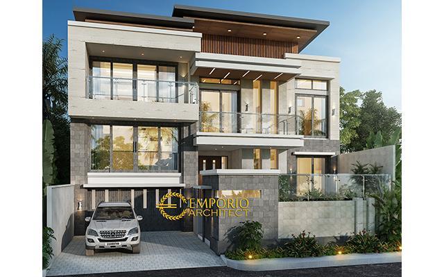Desain Rumah Modern 2.5 Lantai Ibu Ilena di  Semarang