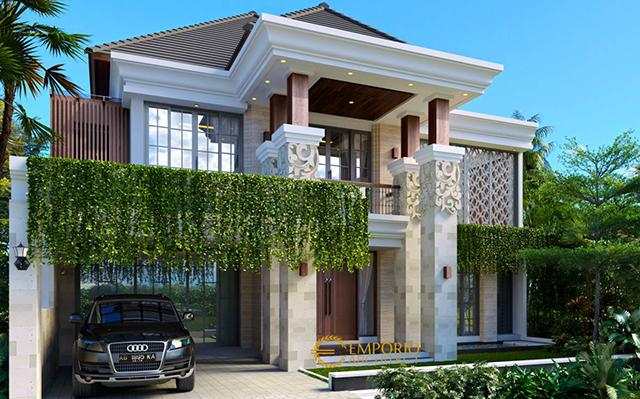 Desain Rumah Villa Bali 2 Lantai Bapak Sindhu di Surabaya, Jawa Timur