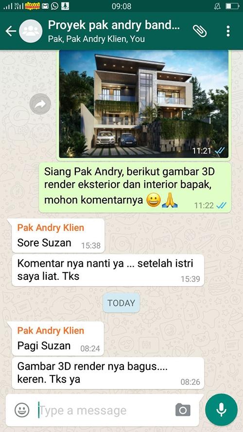 Testimonial Desain Rumah Modern 3 Lantai Bapak Andry