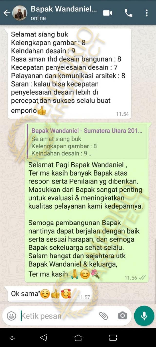 Testimonial Desain Rumah Classic 1 Lantai Bapak Wandaniel di  Sumatera Utara