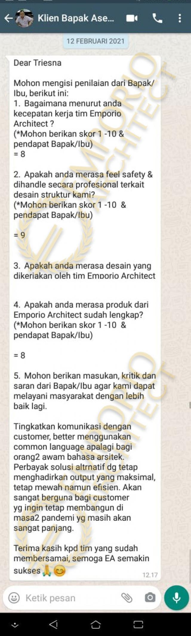 Testimonial Mr. Asep Billy Classic House 1 Floor Design - Pangandaran, Jawa Barat