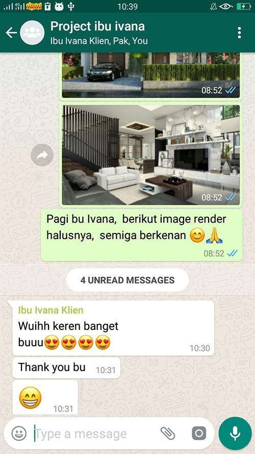Testimonial Desain Rumah Hook Modern 2 Lantai Ibu Ivana