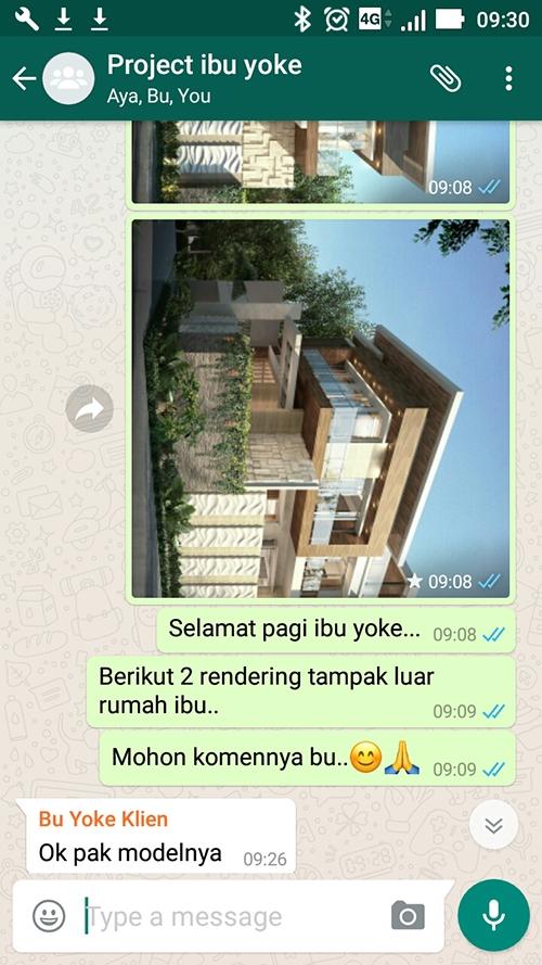 Testimonial Desain Rumah Modern 3 Lantai Ibu Yoke