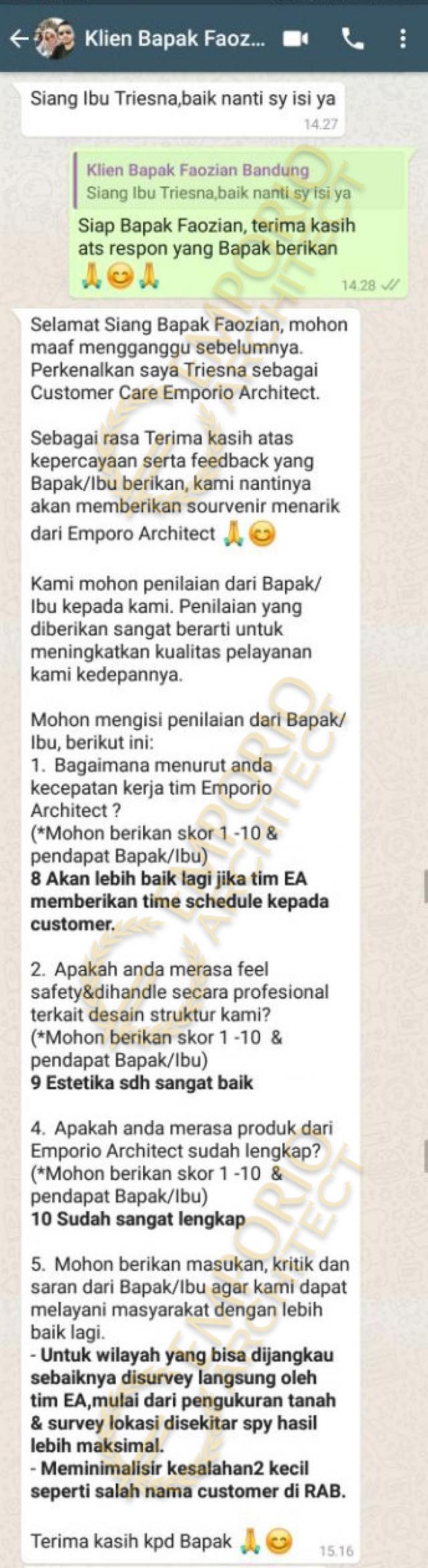 Testimonial Mr. Faozian Classic House 2 Floors Design - Bandung, Jawa Barat