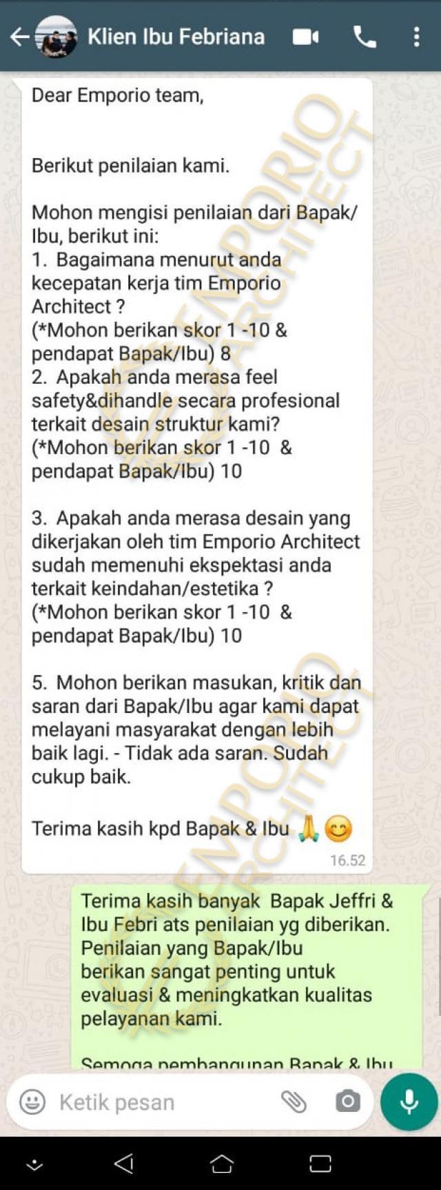 Testimonial Mrs. Febriana Mediteran House 3 Floors Design - Jakarta