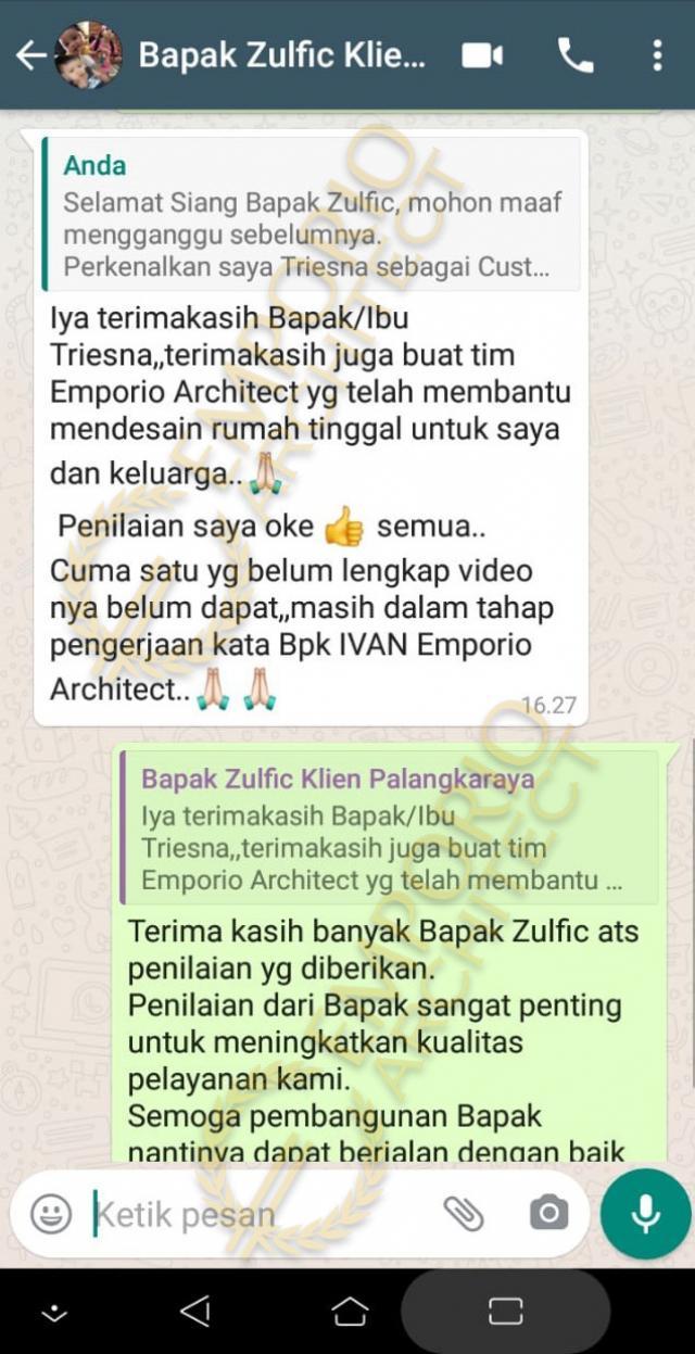 Testimonial Desain Rumah Modern 2 Lantai Bapak Zulfic di  Palangka Raya, Kalimantan Tengah