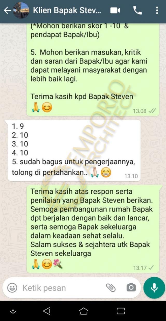 Testimonial Mr. Steven Modern House 2 Floors Design - Surabaya