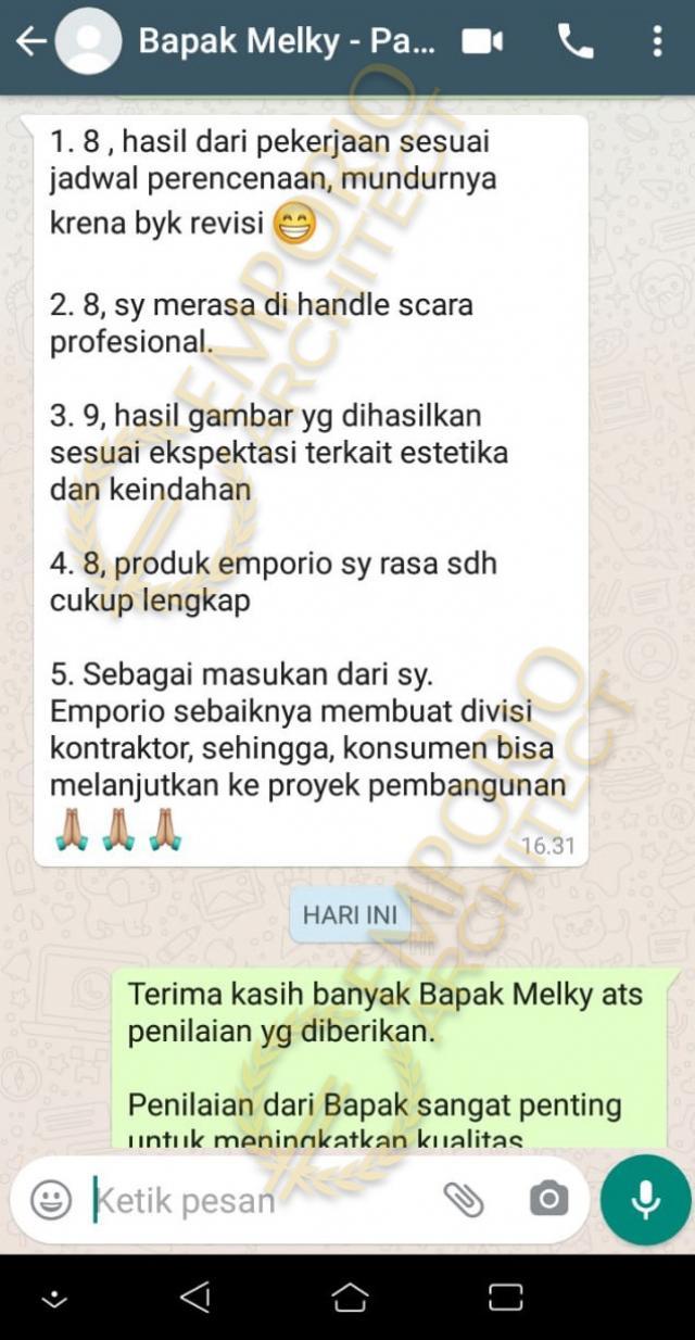 Testimonial Mr. Melky Tjiang Modern House 2 Floors Design - Palu, Sulawesi Tengah