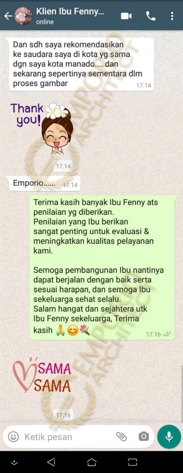 Testimonial Mrs. Fenny Modern House 2.5 Floors Design - Manado