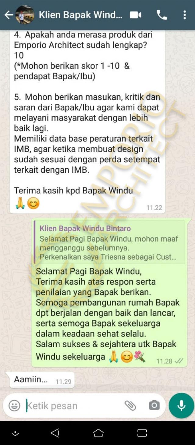 Testimonial Mr. Windu Modern House 3 Floors Design - Bintaro, Jakarta Selatan