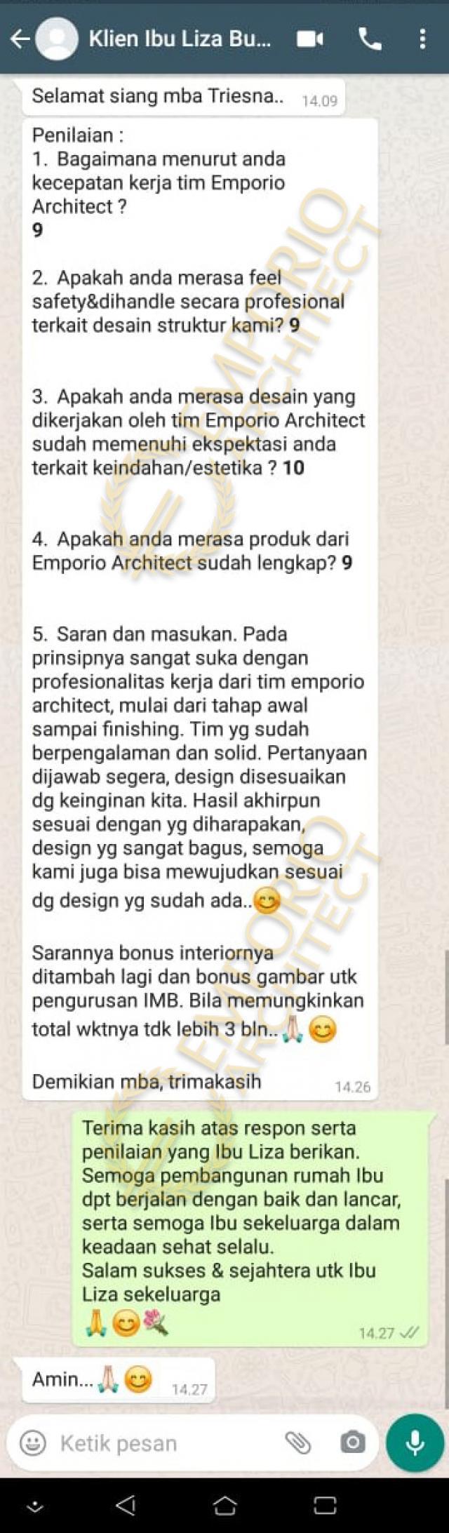 Testimonial Desain Rumah Modern 3 Lantai Ibu Liza Fitria