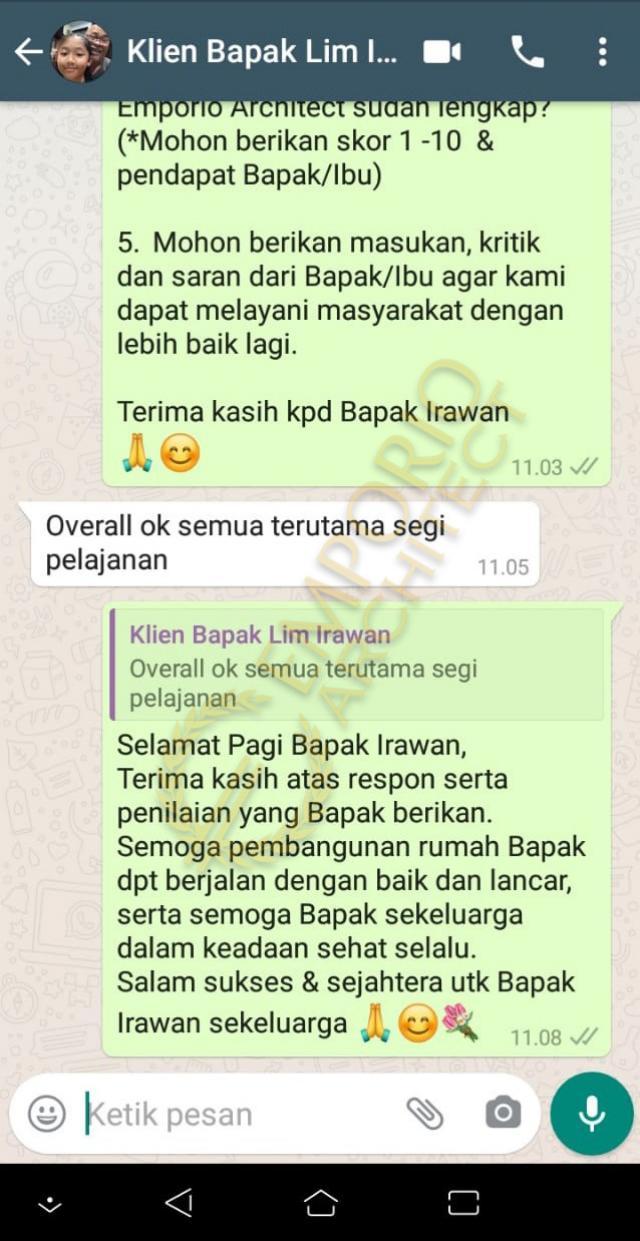 Testimonial Mr. Irawan Modern House 3 Floors Design - Jakarta