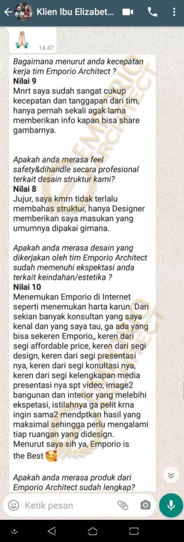 Testimonial Mrs. Eli Modern House 3 Floors Design - Bekasi, Jawa Barat