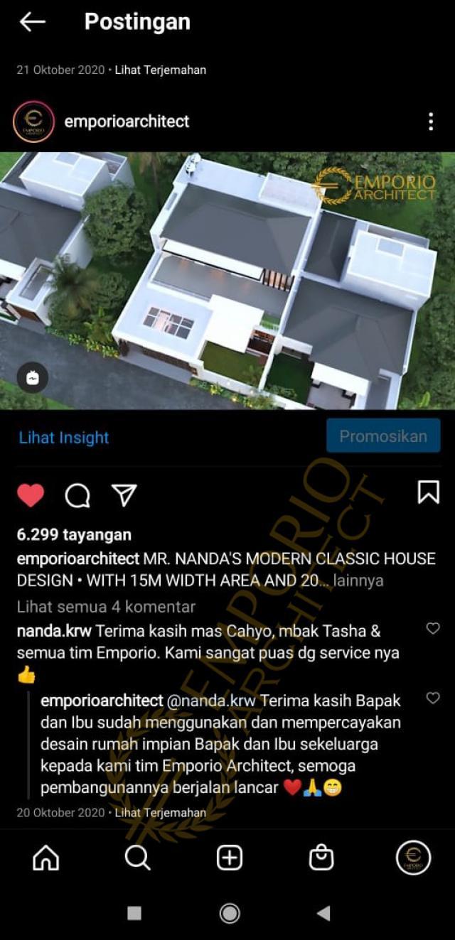 Testimonial Mr. Nanda Modern Classic House 2 Floors Design - Padang, Sumatera Barat
