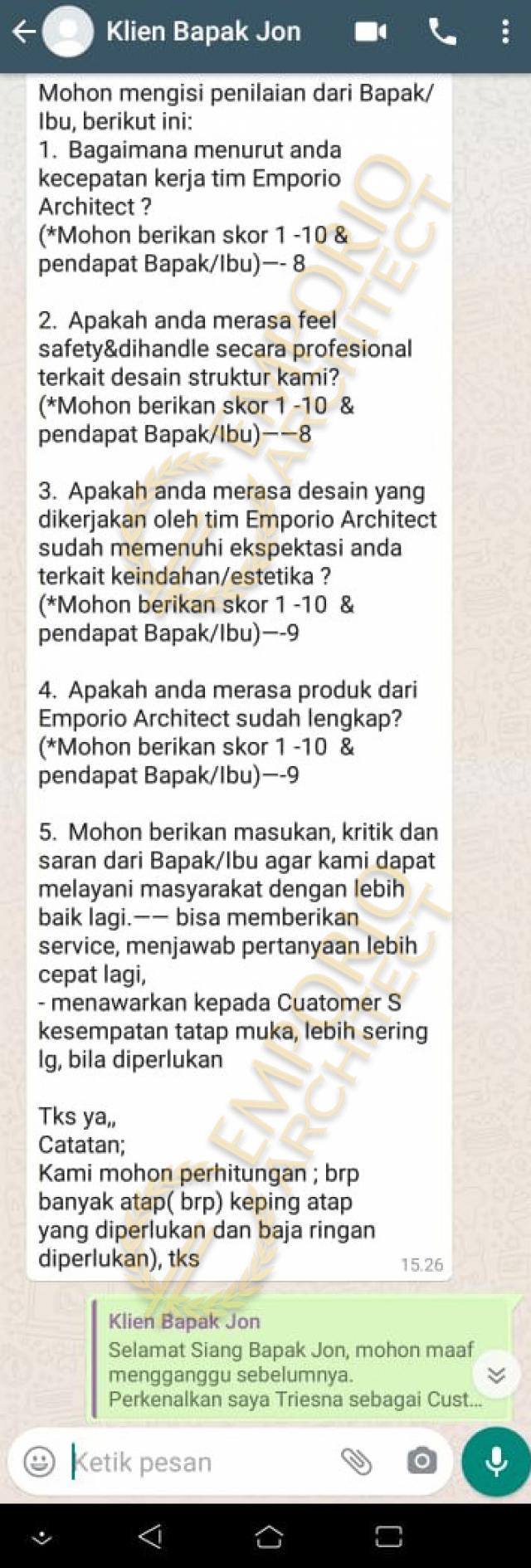 Testimonial Mr. Jon Villa Bali House 1 Floor Design - Pekanbaru, Riau
