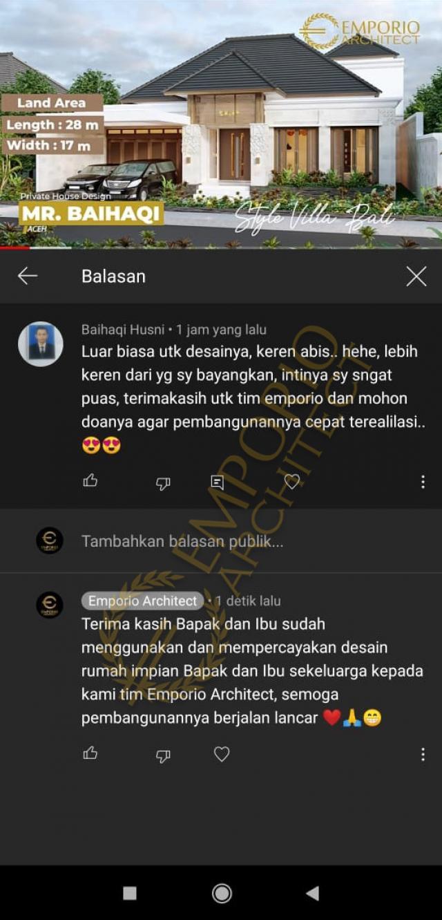 Testimonial Mr. Baihaqi Villa Bali House 1.5 Floors Design - Aceh