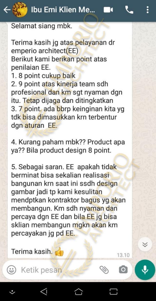 Testimonial Mrs. Emi II Villa Bali Modern House 2 Floors Design - Medan, Sumatera Utara