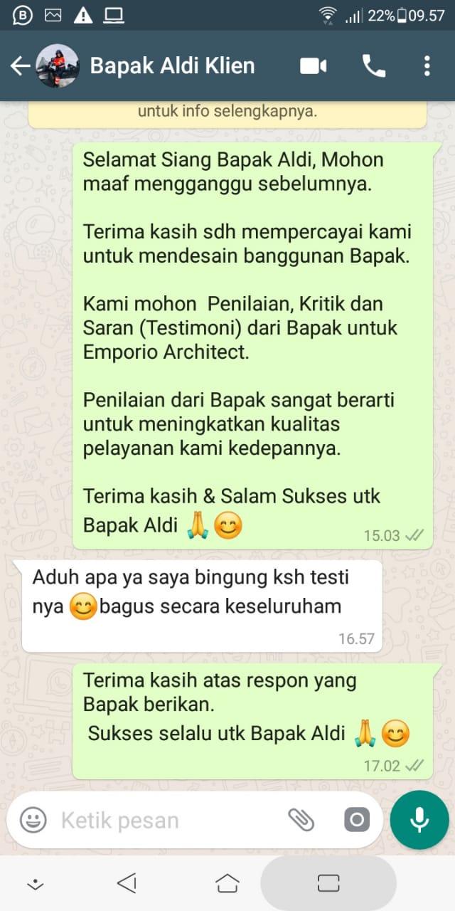 Testimonial Mr. Aldi Classic House 2 Floors Design - Bandung