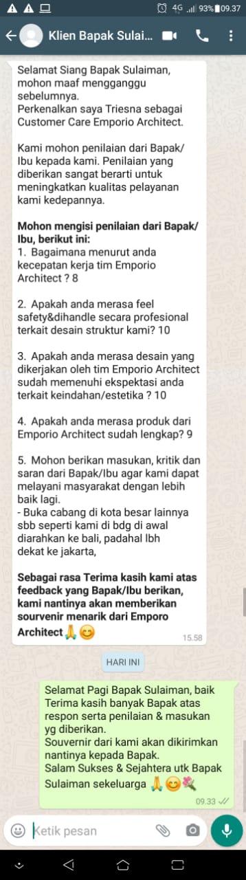 Testimonial Desain Rumah Hook Classic 3.5 Lantai Bapak Sulaiman