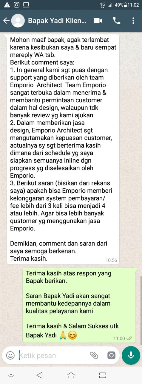 Testimonial Desain Rumah Modern 2 Lantai Bapak Yadi