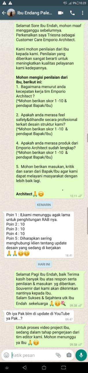 Testimonial Desain Rumah Classic 2 Lantai Ibu Endang di  Cibubur, Jakarta