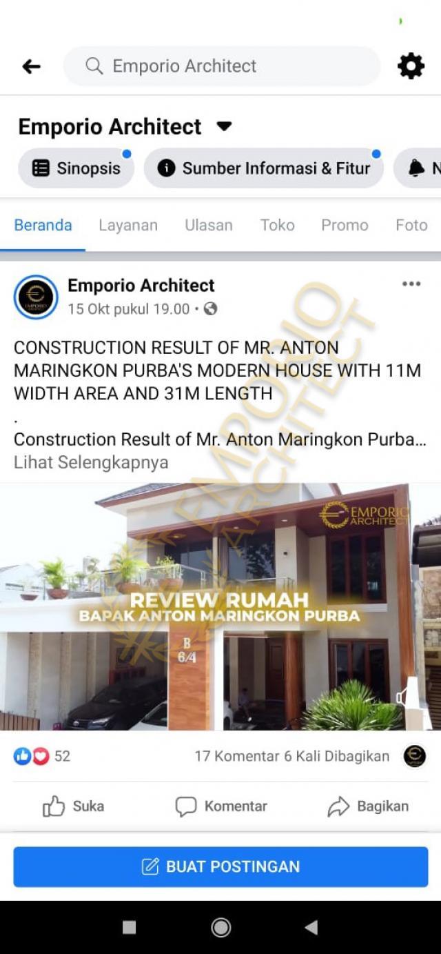 Testimonial Desain Rumah Modern 2 Lantai Bapak Anton M. Purba
