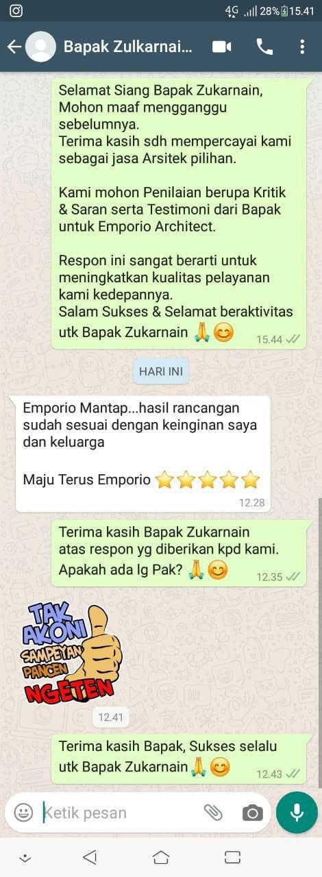 Testimonial Mr. Zulkarnaen Villa Bali House 1.5 Floors Design - Jakarta