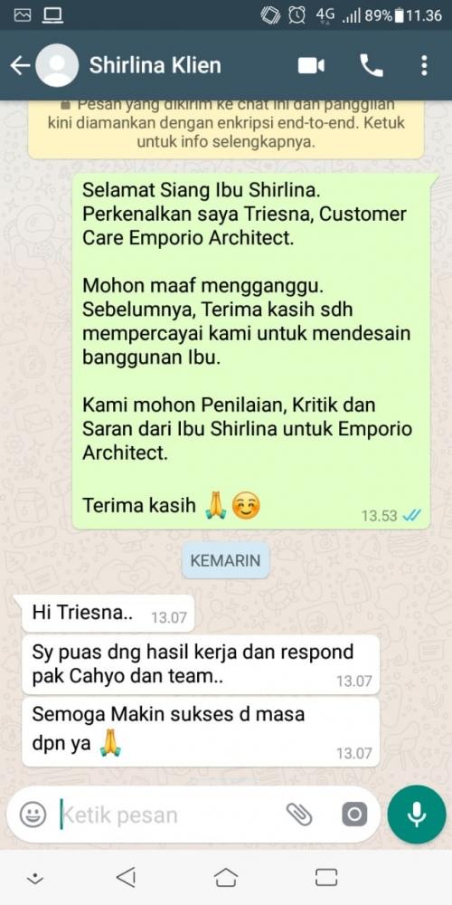 Testimonial Desain Rumah Modern 2 Lantai Ibu Shirlina