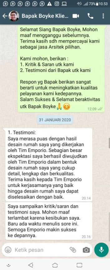 Testimonial Mr. Boyke Modern House 2 Floors Design - Jakarta Timur