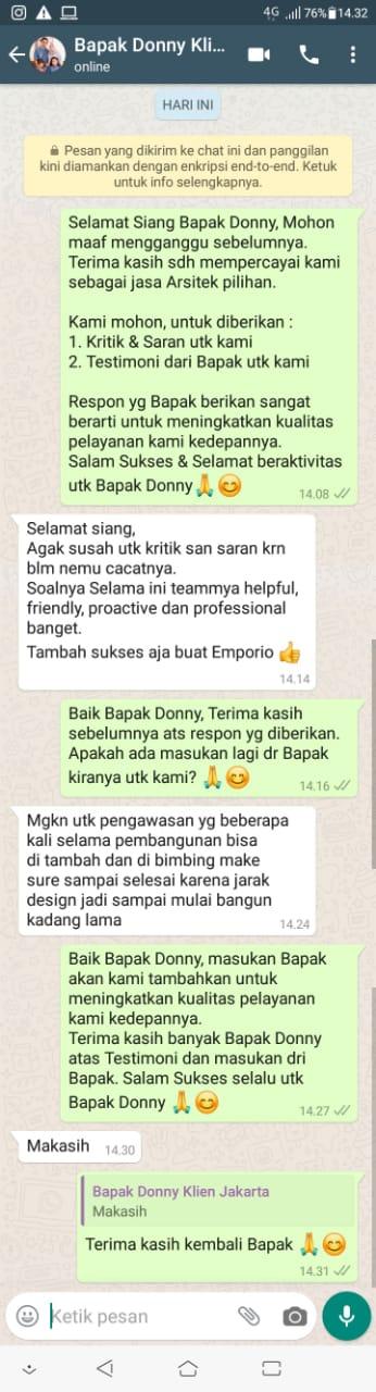 Testimonial Mr. Donny Modern House 3 Floors Design - Jakarta Timur