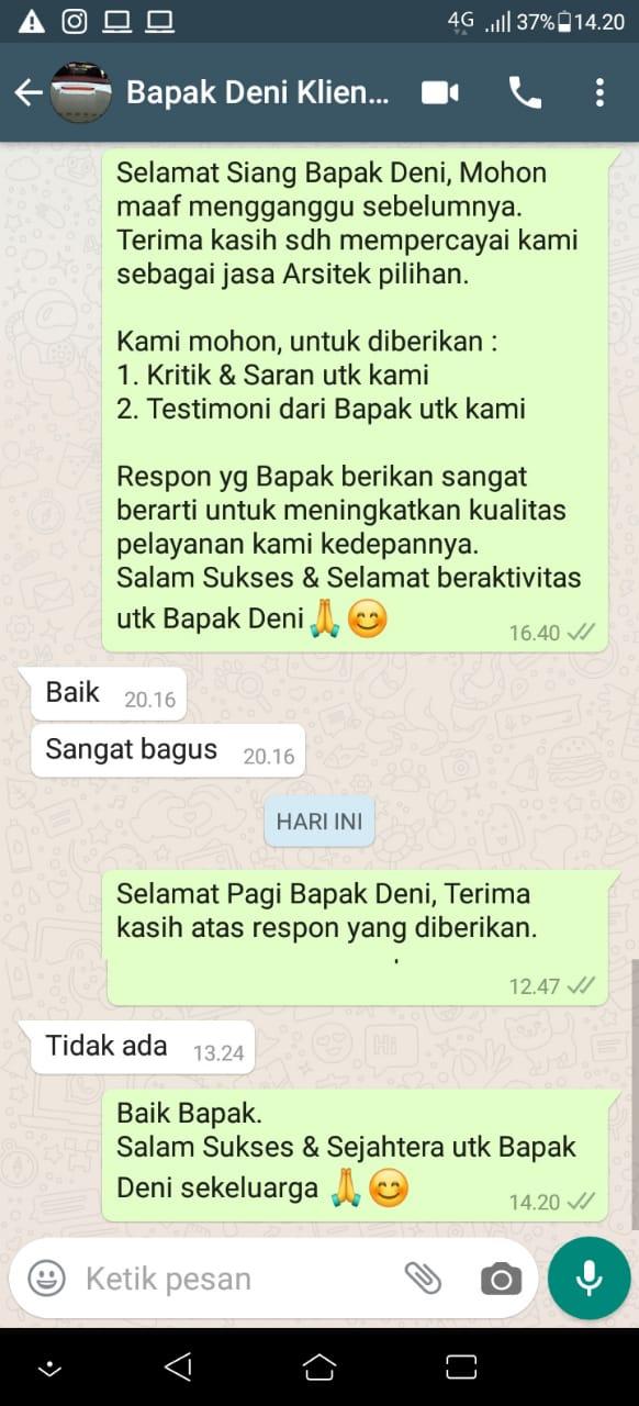 Testimonial Mr. Deni Modern House 2 Floors Design - Karawang, Jawa Barat