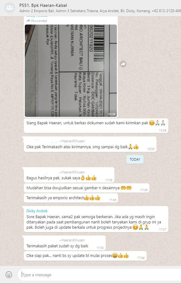 Testimonial Mr. Haeran Villa Bali House 2 Floors Design - Kota Baru, Kalimantan Selatan