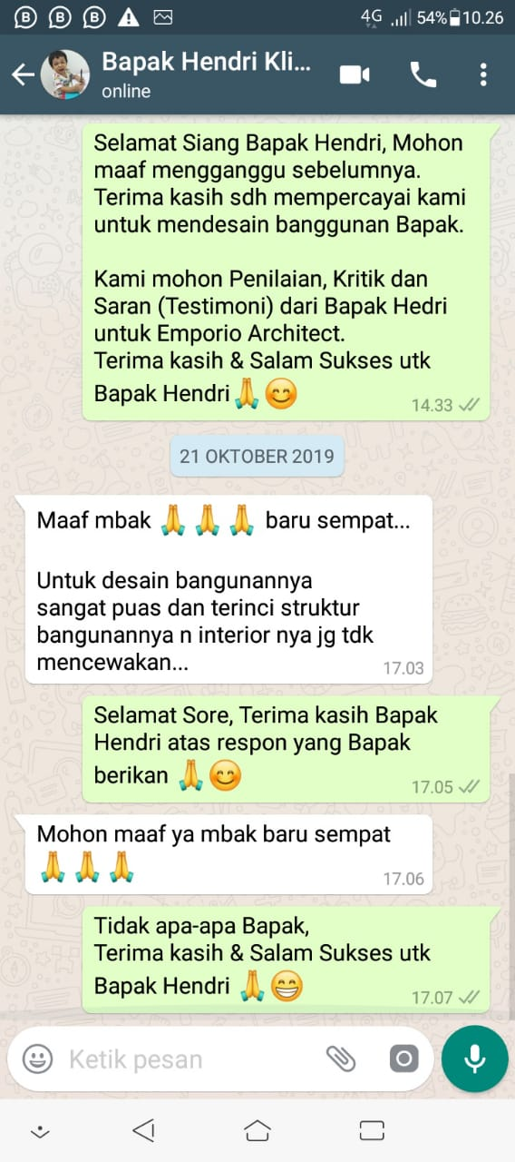 Testimonial Mr. Hendri Villa Bali House 2 Floors Design - Padang, Sumatra Barat