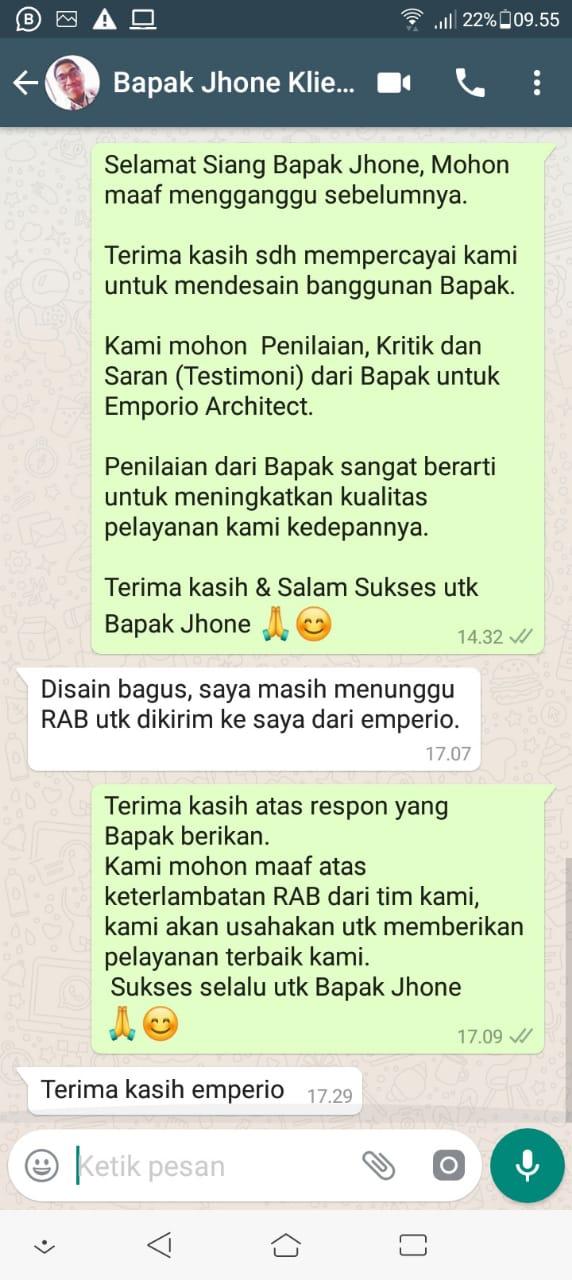 Testimonial Desain Rumah Villa Bali 3 Lantai Bapak Jhone