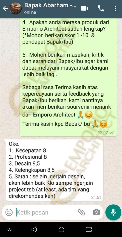 Testimonial Mr. Abarham Modern House 2 Floors Design - Palembang, Sumatera Selatan