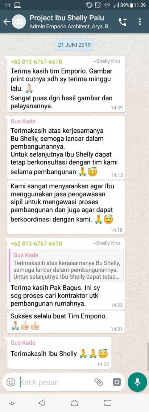 Testimonial Desain Rumah Villa Bali 1 Lantai Ibu Shelly di  Palu, Sulawesi Tengah
