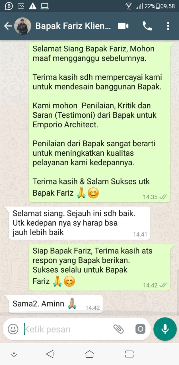 Testimonial Desain Rumah Classic 2 Lantai Bapak Fariz