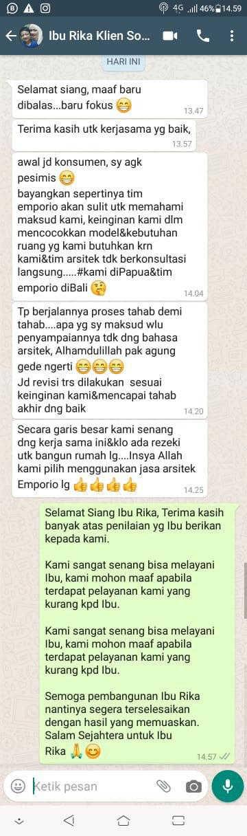 Testimonial Mrs. Rika Villa Bali House 2 Floors Design - Sorong, Papua Barat