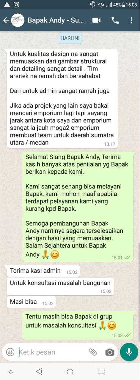 Testimonial Mr. Andy Modern House 2 Floors Design - Sumatera Utara