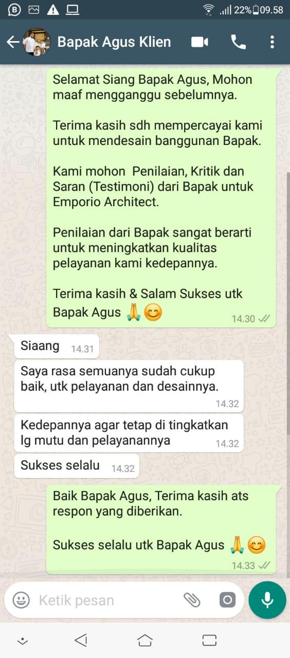 Testimonial Desain Rumah Villa Bali 2 Lantai Bapak Agus Sofyan