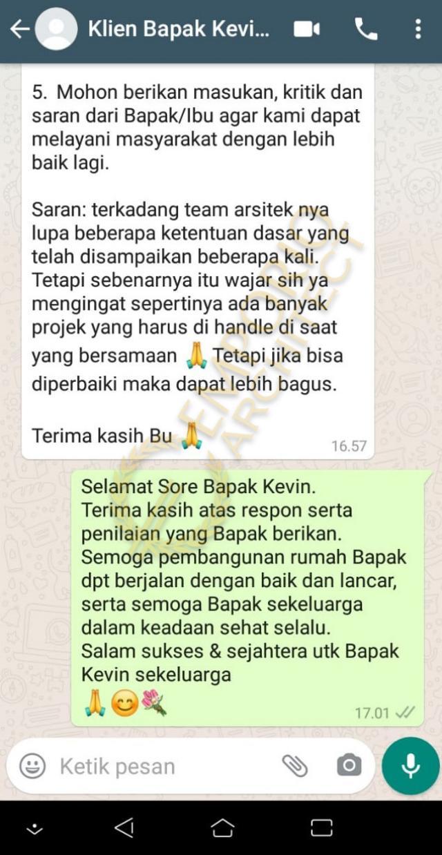 Testimonial Mr. Kevin Modern House 2 Floors Design - Tangerang, Banten