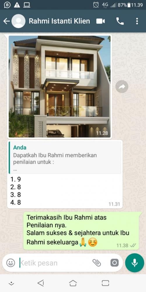 Testimonial Desain Rumah Modern 3 Lantai Ibu Rahmi