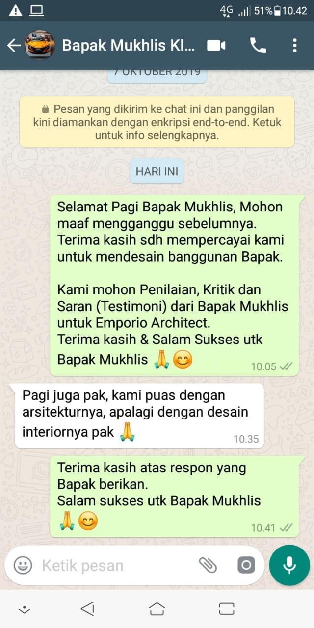 Testimonial Mr. Mukhlis Villa Bali House 1 Floor Design - Aceh