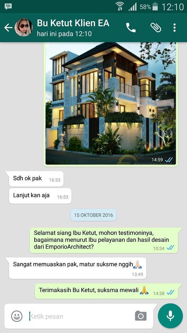 Testimonial Desain Rumah Villa Bali 3 Lantai Ibu Ketut Nuriati