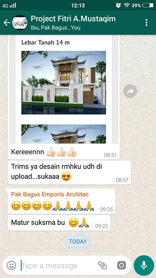 Testimonial Desain Rumah Villa Bali 2 Lantai Ibu Fitri