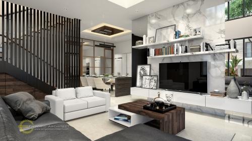 Desain Interior Desain Rumah Hook Modern 2 Lantai Ibu Ivana