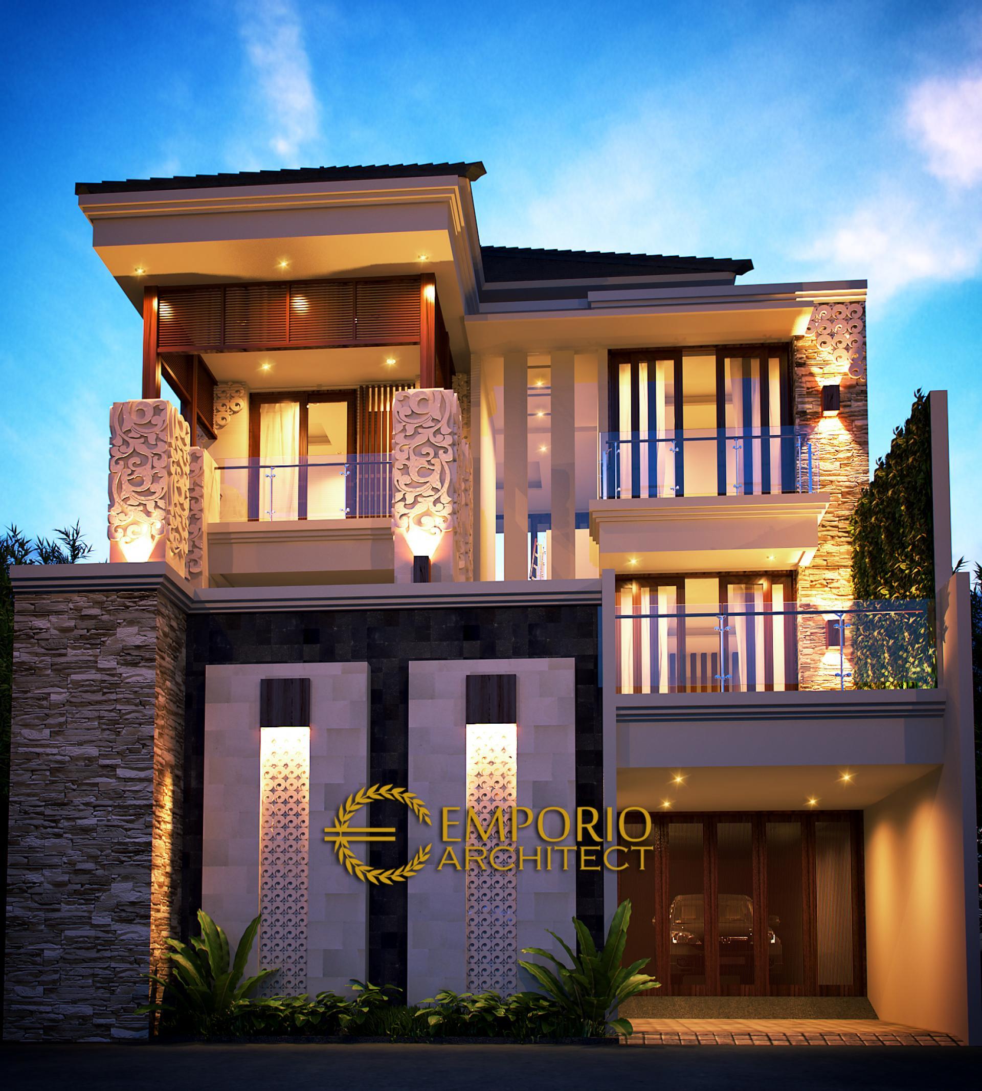 Desain Rumah Villa Bali 3 Lantai Bapak Nursantyo di  Jakarta
