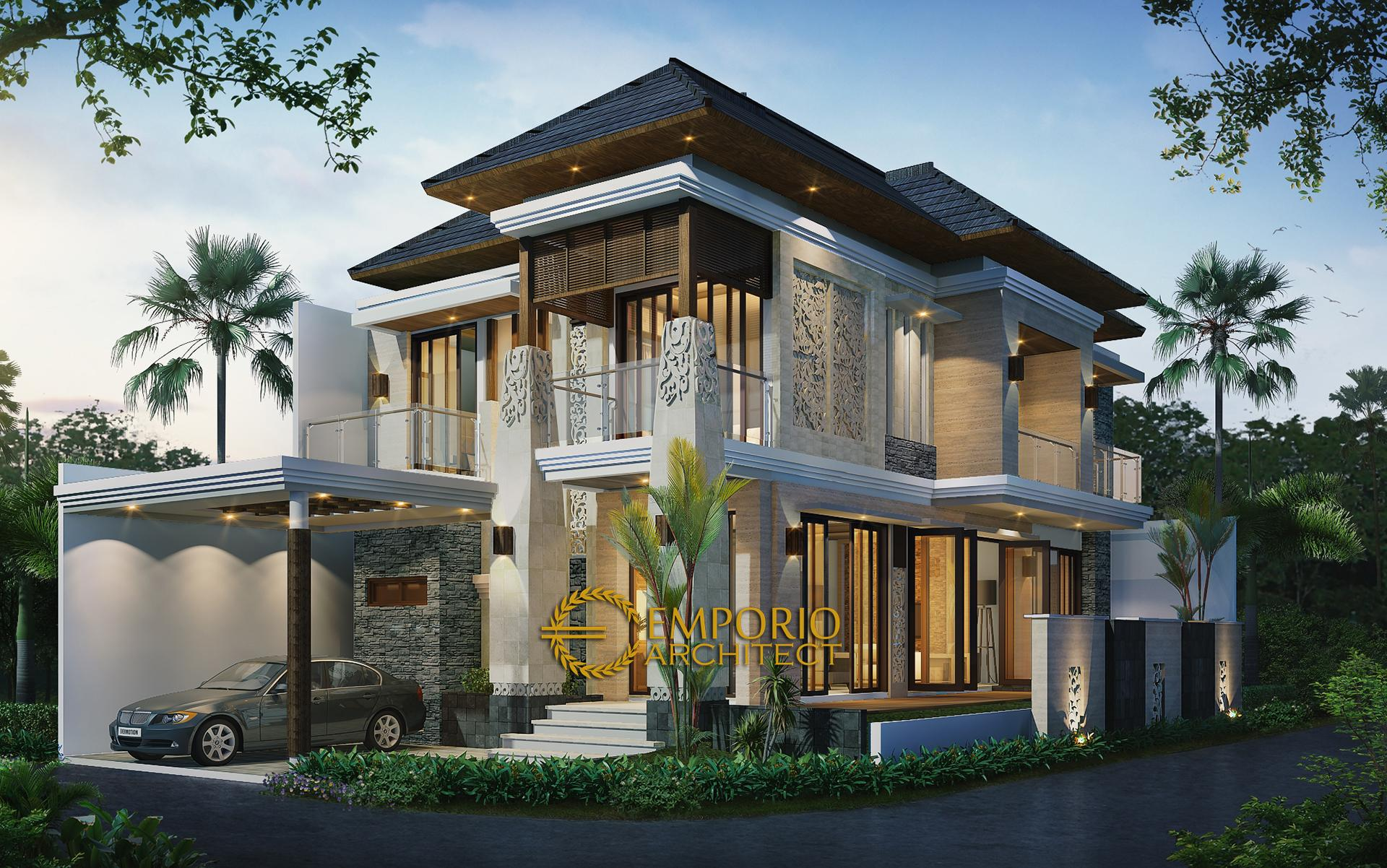 Desain Rumah Hook Villa Bali 2 Lantai Ibu Siska di  Cibubur, Jakarta