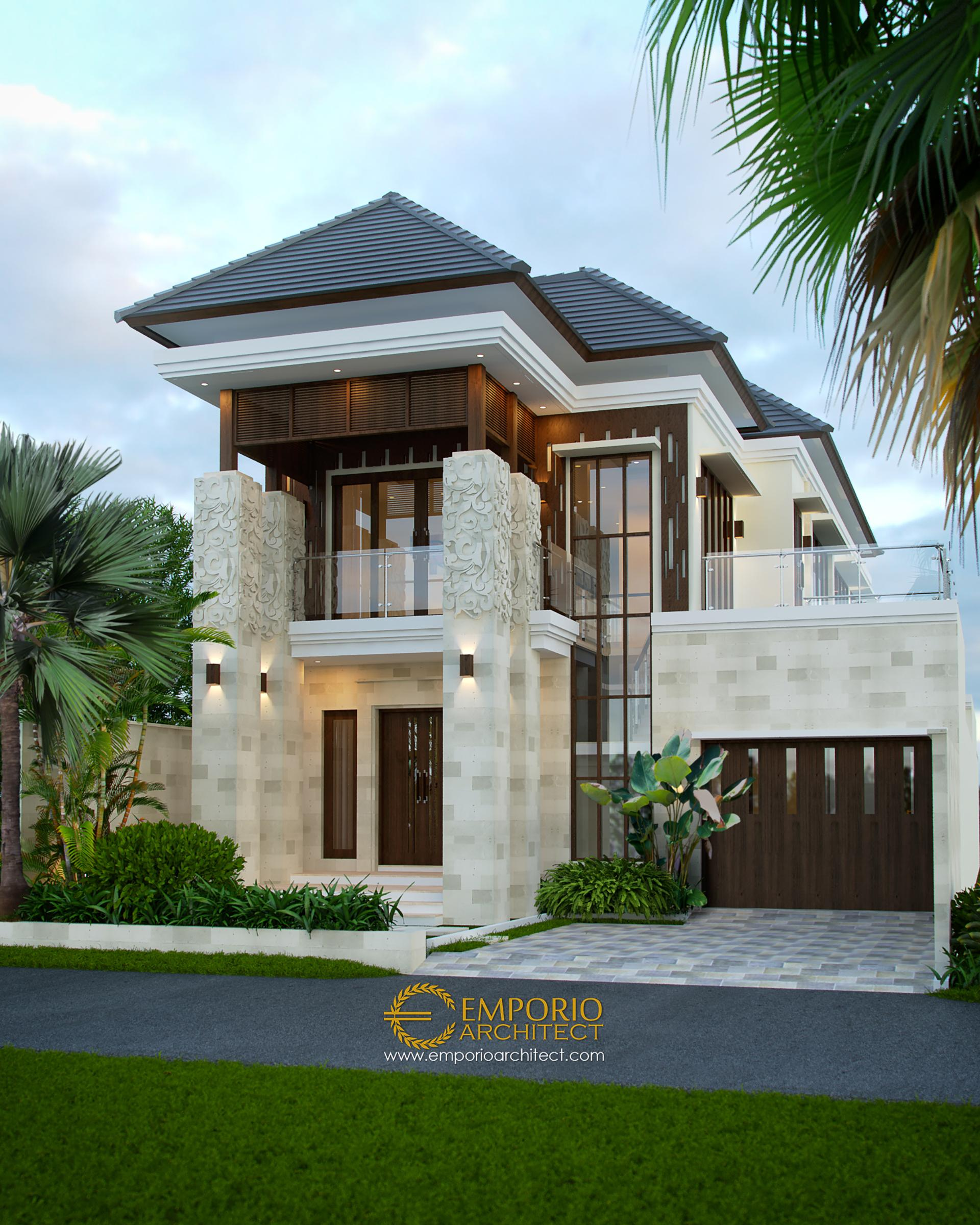 Desain Rumah Villa Bali 2 Lantai Ibu Rina di Lampung
