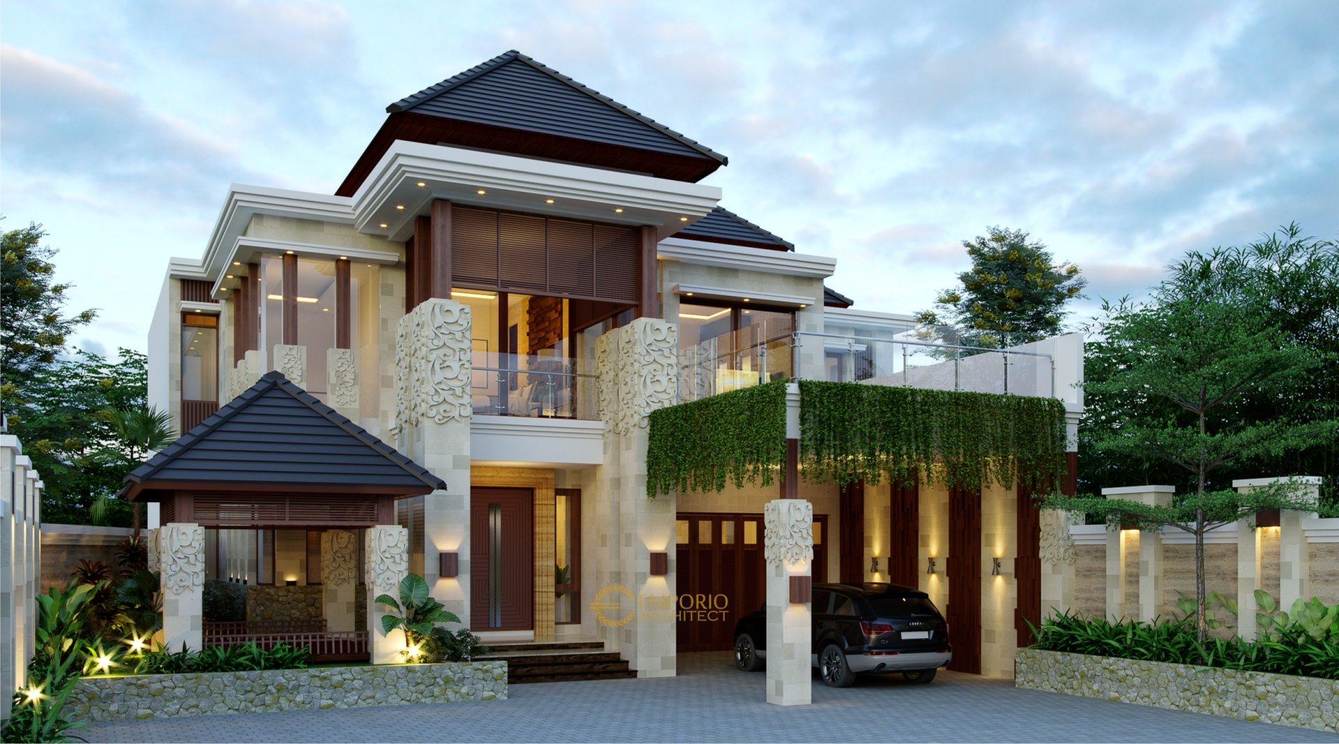 Desain Rumah Villa Bali 2 Lantai Bapak Deden di Purwakarta